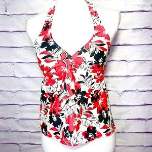 Catalina Red & White Floral Tankini Swimsuit Top